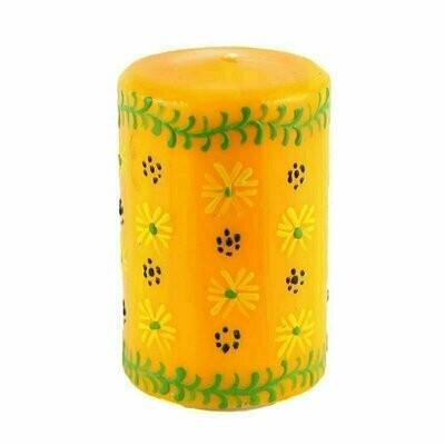 Hand Painted Candles in Yellow Masika Design (pillar) - Nobunto
