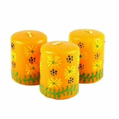 Hand Painted Candles in Yellow Masika Design (box of three) - Nobunto