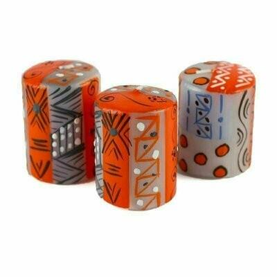 Hand Painted Candles in Kukomo Design (box of three) - Nobunto