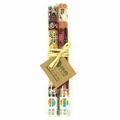 Tall Hand Painted Candles - Pair - Halisi Design - Nobunto