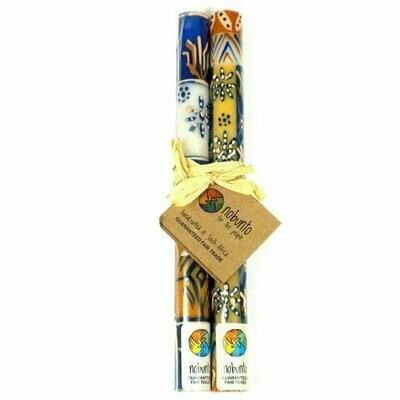 Tall Hand Painted Candles - Pair - Durra Design - Nobunto