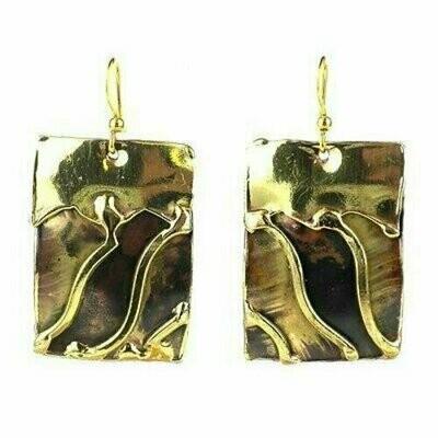 Waves Brass Earrings - Brass Images (E)