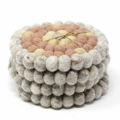 Hand Crafted Felt Ball Coasters from Nepal: 4-pack, Flower Pinks - Global Groove (T)