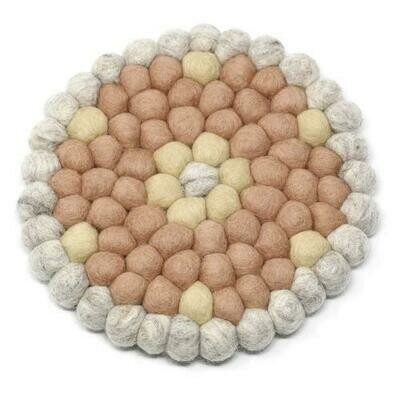 Hand Crafted Felt Ball Trivets from Nepal: Round Flower Design, Pink - Global Groove (T)