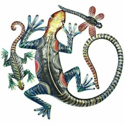 Painted Gecko Metal Wall Art - Croix des Bouquets