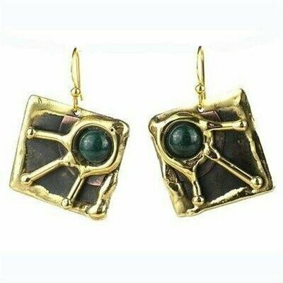 Deep Green Rays Brass Earrings - Brass Images (E)
