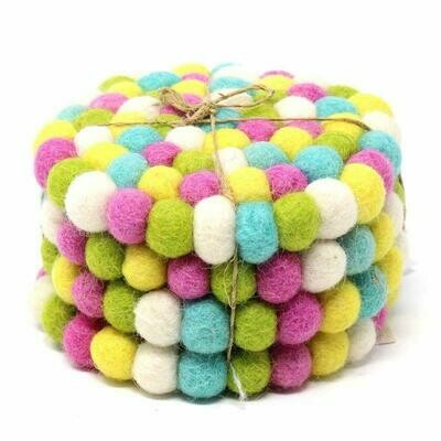 Hand Crafted Felt Ball Coasters from Nepal: 4-pack, Spring - Global Groove (T)