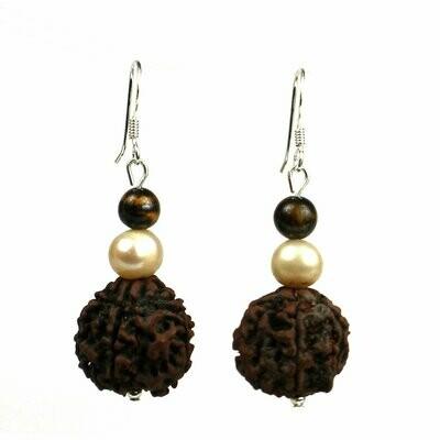 Rudraksha & Pearl Earrings - Global Groove (J)