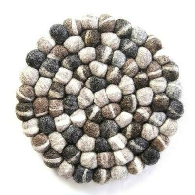 Hand Crafted Felt from Nepal: Trivet, Tie Dye Grey - Global Groove (T)