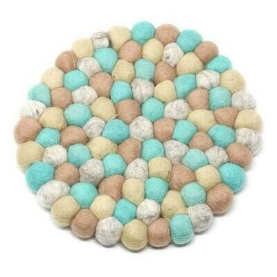 Hand Crafted Felt Ball Trivets from Nepal: Round, Sky - Global Groove (T)