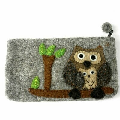 Handmade Tan Felted Owl Clutch - Global Groove (P)