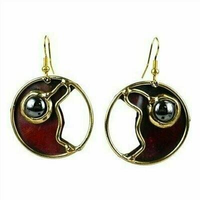 Morpho Hematite Copper and Brass Earrings - Brass Images (E)