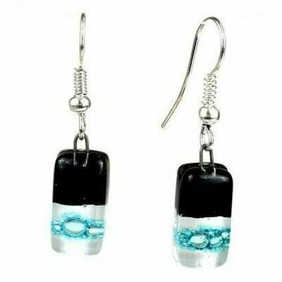 Black Tie Design Small Glass Earrings - Tili Glass