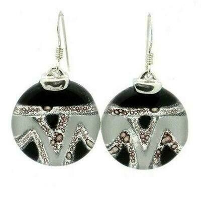 Aztec Black and White Round Glass Sterling Silver Earrings - Tili Glass