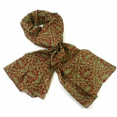 Olive Floral Cotton Scarf - Asha Handicrafts