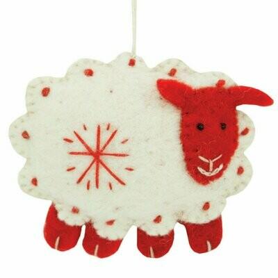 White Felt Sheep Holiday Ornament - Wild Woolies (H)