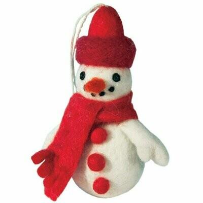 Felt Snowman Ornament - Wild Woolies (H)