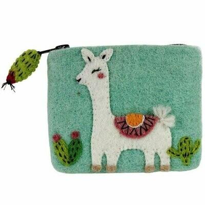 Felt Happy Llama Coin Purse - Wild Woolies (P)