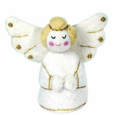 White Golden Angel Felt Ornament - Wild Woolies (H)
