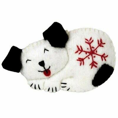 Snowflake Puppy Felt Ornament - Wild Woolies (H)