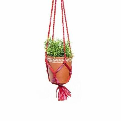 Upcycled Sari Macrame Plant Hanger and Medium Clay Planter - Matr Boomie (Pottery)