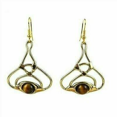 Golden Tiger Eye Bloom Brass Earrings - Brass Images (E)