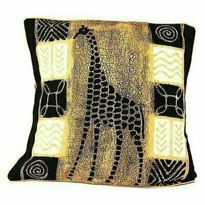 Handmade Black and White Giraffe Batik Cushion Cover - Tonga Textiles