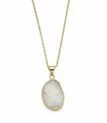 Rishima Druzy Drop Necklace - White - Matr Boomie (Jewelry)