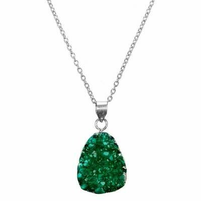 Rishima Druzy Drop Necklace - Seafoam - Matr Boomie (Jewelry)