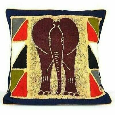 Handmade Colorful Elephant Batik Cushion Cover - Tonga Textiles