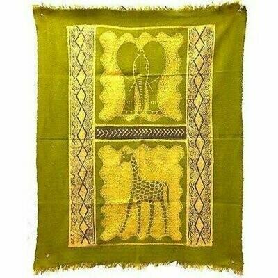 Elephant and Giraffe Batik in Lime/Periwinkle - Tonga Textiles