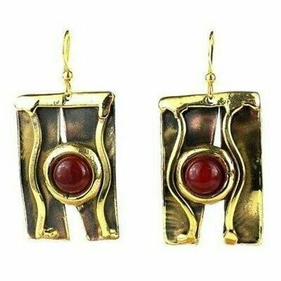 Carnelian Mountain Brass Earrings - Brass Images (E)