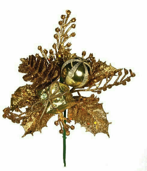 XP1003GOLD - Gold Ball Cone Package Holly Glitter Pick