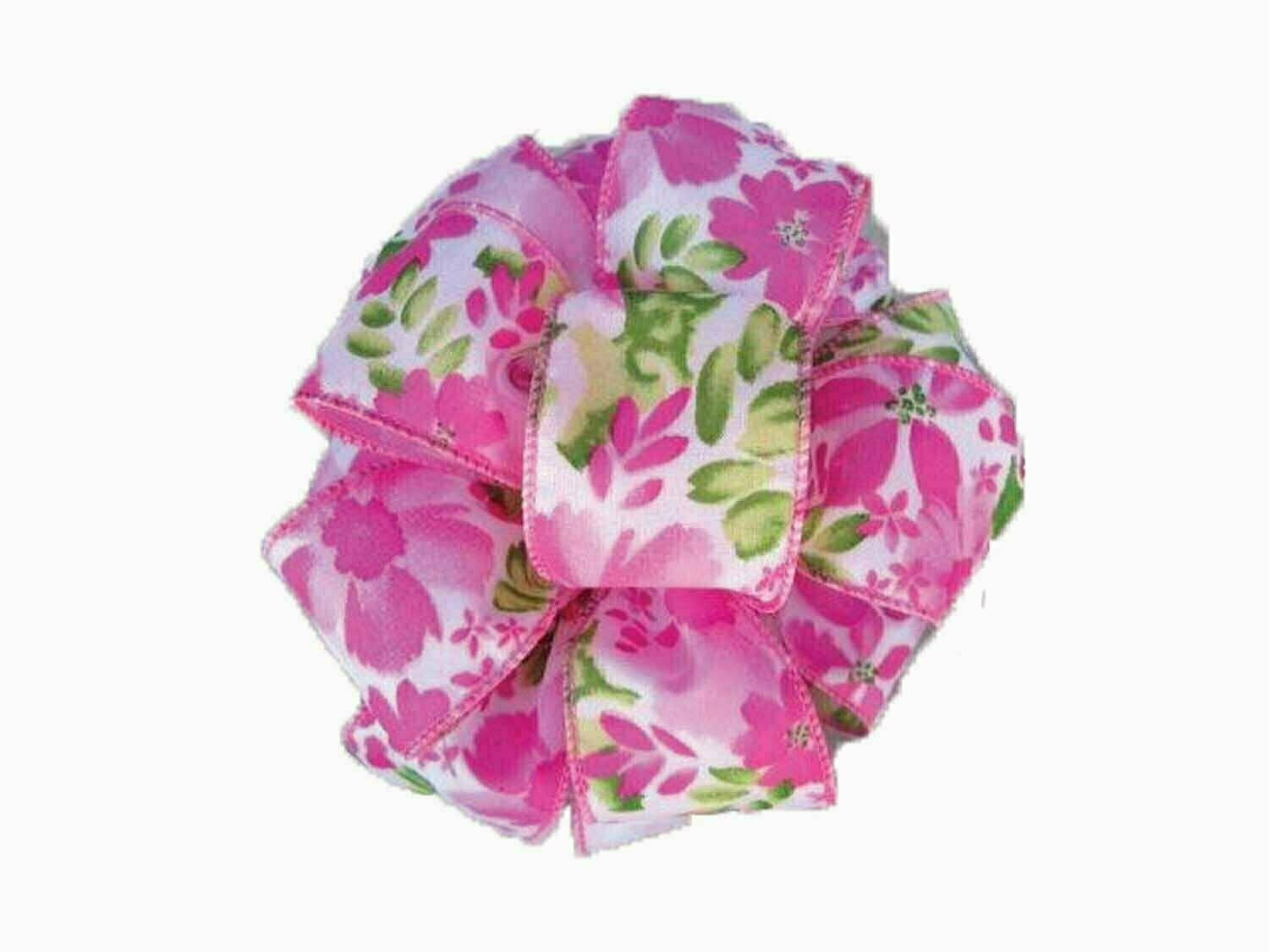 FOF09PK - Wired Pink Floral Pattern 50 yards Wired $15.95