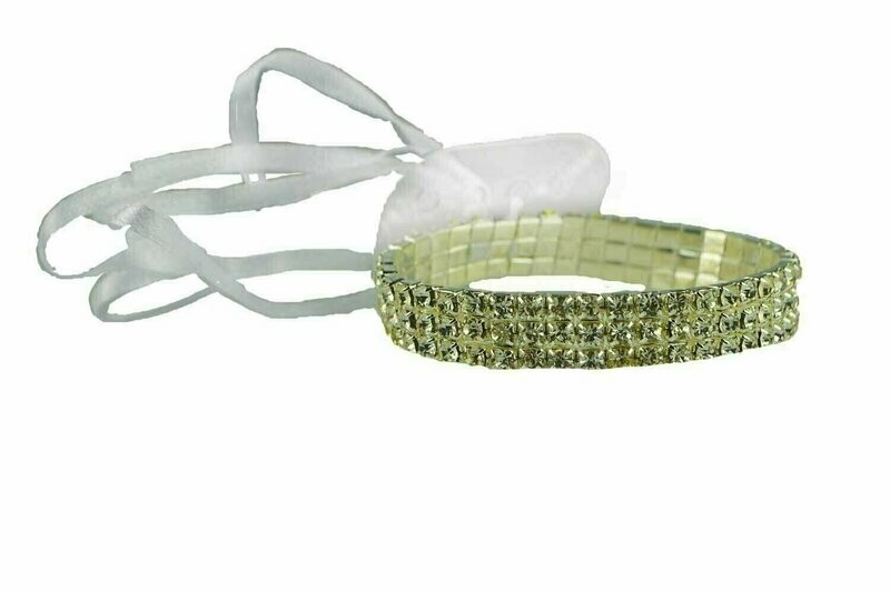 305CLR - 3 Row Crystal Wristlet With Plastic Pad