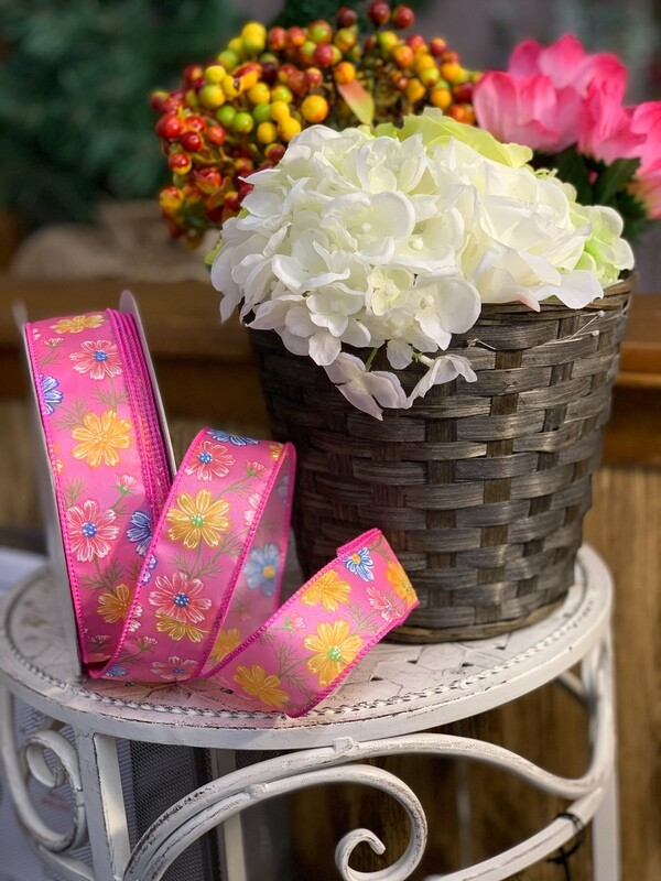 FPOW9PINK - #9 Wired floral print (50 yards) $12.95 Minimum Order: 1 pc Case Pack: 12 pcs