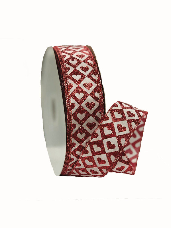 HTSD09 - #09  Red / White Hearts And diamonds 50 Yards $14.95 Minimum 2 Case Pack 24