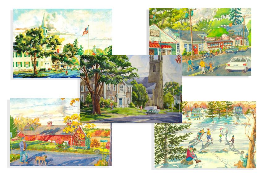 Set of 5 Newtown Postcards