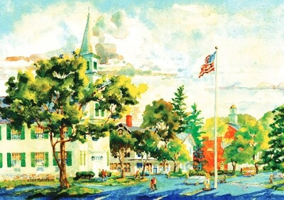 11x14 Watercolor Print - Meeting House - Newtown Main Street