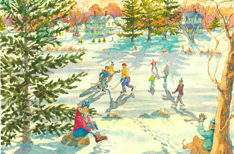 11x14 Watercolor Print - Rams Pasture Ice Skaters - Newtown, CT
