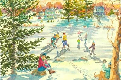 11x14 Watercolor Print - Rams Pasture Ice Skaters - Newtown, CT