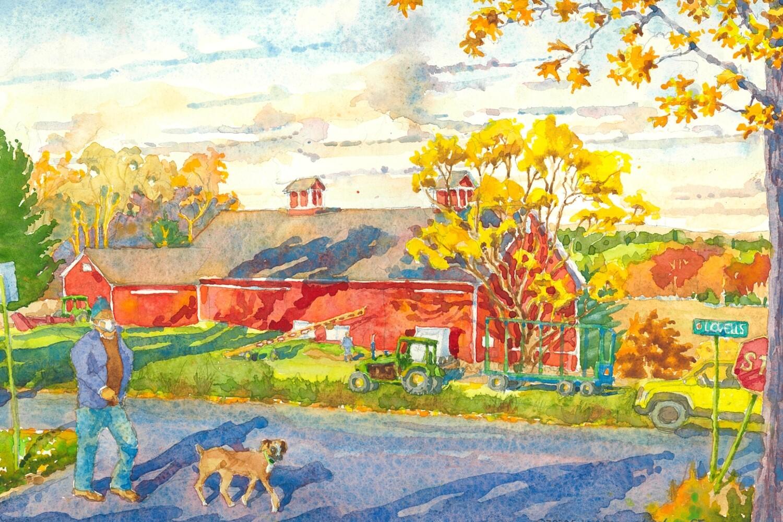 11x14 Watercolor Print - Queen Street Barn and Overlook