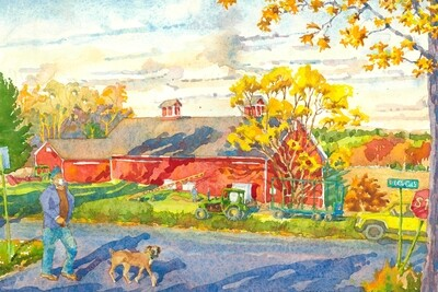 11x14 Watercolor Print - Queen Street Barn and Overlook