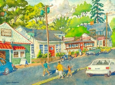 11x14 Watercolor Print - Sandy Hook Center (The Diner and Cover Two)