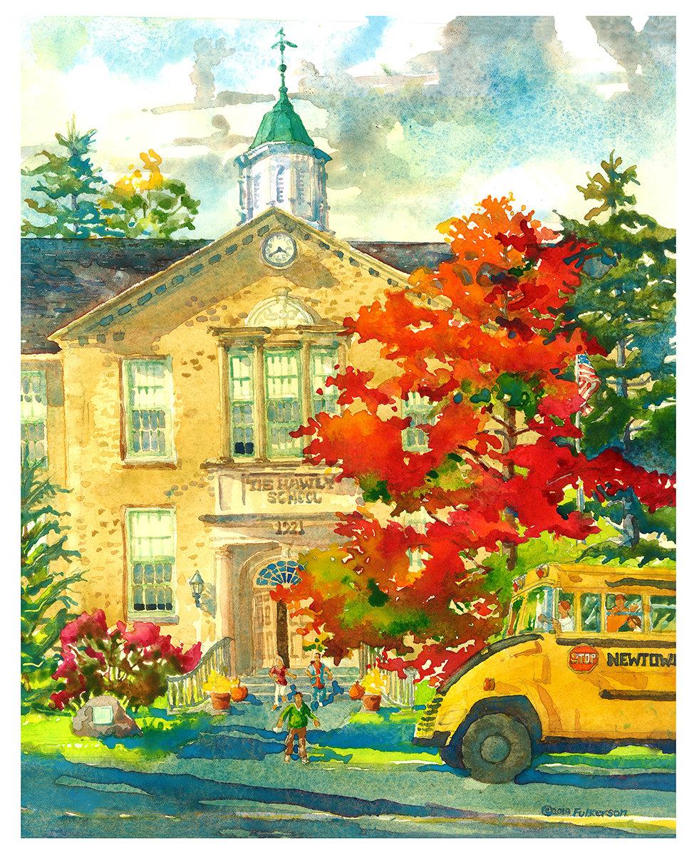 20x16 Watercolor Print - Hawley School