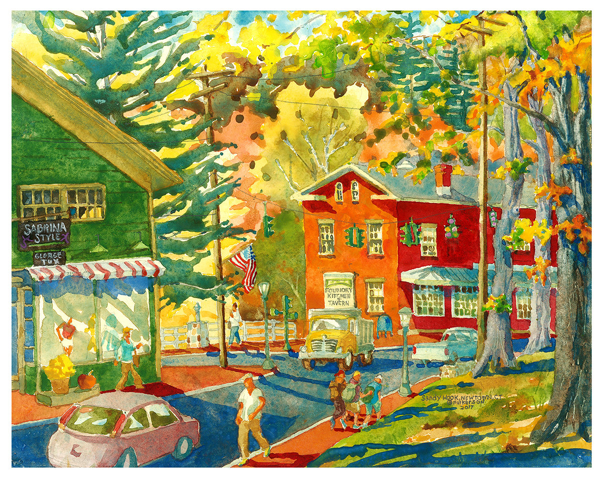11x40 Watercolor Print - Sandy Hook Center (The Foundry and Sabrina Style)