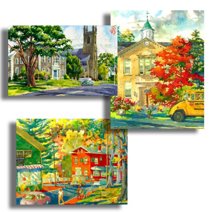 Set of 3 Watercolor Prints - Newtown