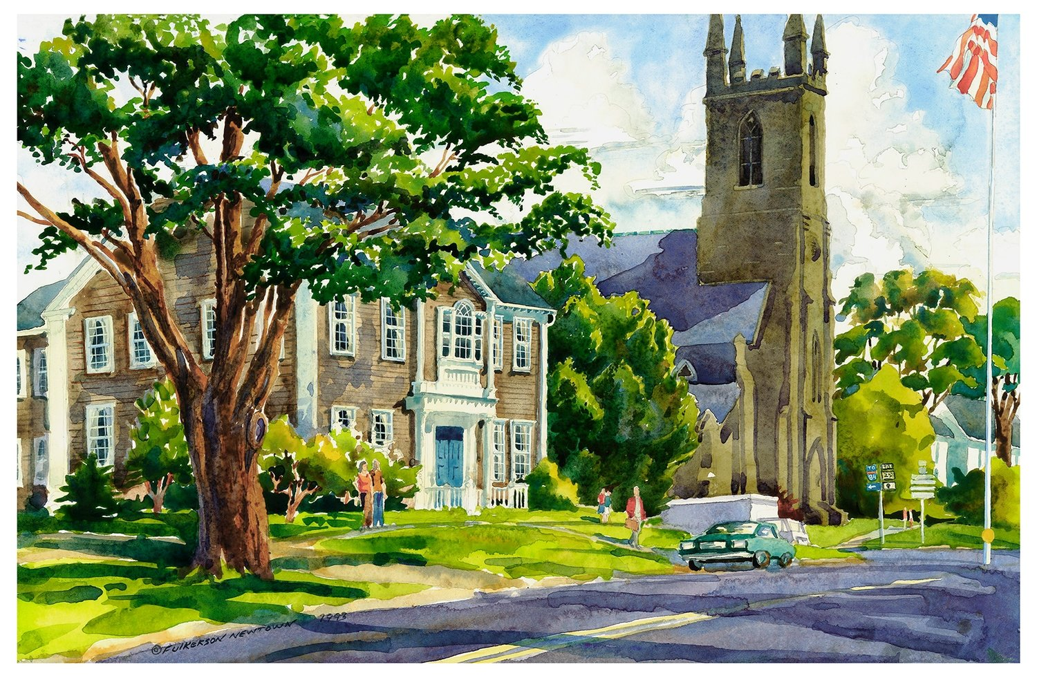 11x14 Watercolor Print - Trinity Church - Newtown Main Street
