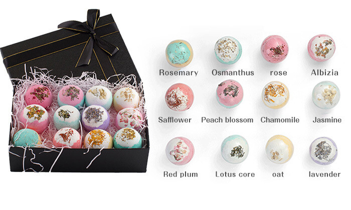 AOLEGA Dry Flower Bath Bombs Gift Set - 12 Pcs/Pack