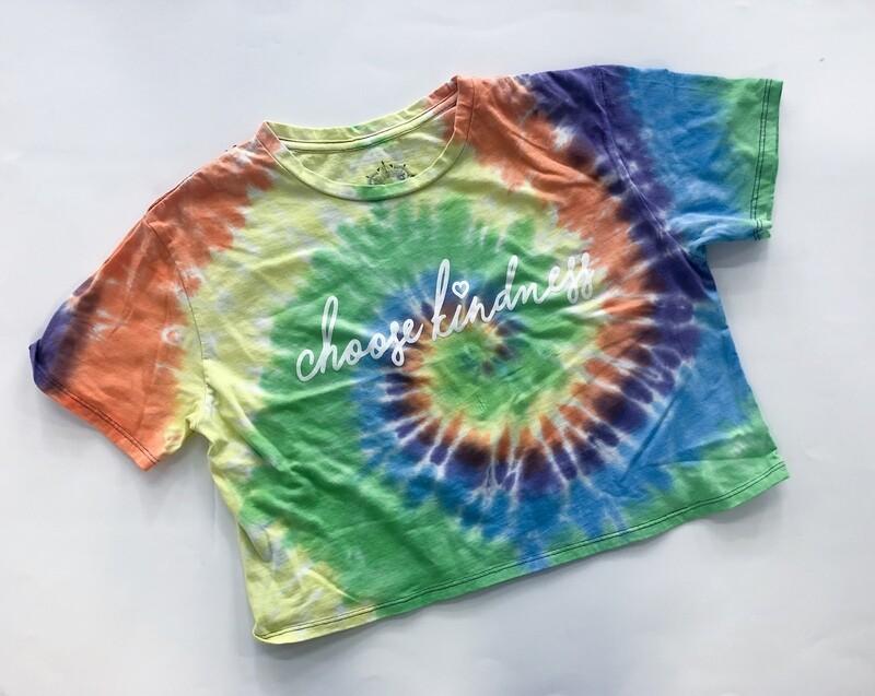 Tie Dye Crop Primary - Choose Kindness